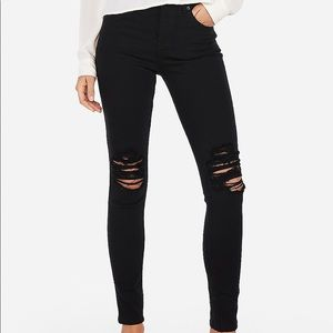 Black High rise ripped skinny jean leggings